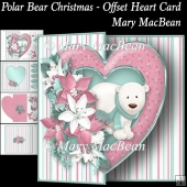 Polar Bear Christmas - Offset Heart Card