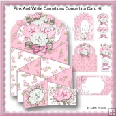 Pink And White Carnations Concertina Card Kit