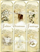 Golden Christmas Greetings Tags