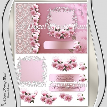 Beautiful Magnolias Decoupage Card Front/Topper