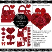 Rose Heart and Diamonds Fashion Bag