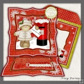 Easel Card Xmas Bear Girl Postbox