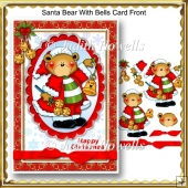 Santa Bear With Bells Card Front