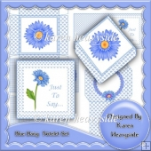 Blue Daisy Notelet Set