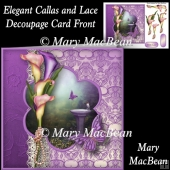 Elegant Callas and Lace Decoupage Card Front