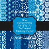 14 Blue Monochrome A4 Patterned Backing Papers