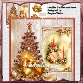candles, baubles and tree card