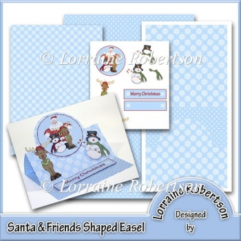 Santa & Friends - Shaped Easel Card