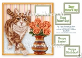 Ginger Tabby Cat Tiptoeing Round The Roses - 8 x 8 Card Topper