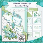 Blue Floral Scalloped Edge Pocket Card & Tags Kit