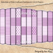 Selection of Pink Craftcard Patchwork 12x12 Papers
