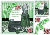 pretty steam punk fashion with green bow & roses 8x8