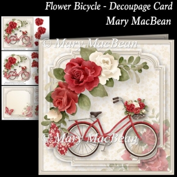 Flower Bicycle - Decoupage Card