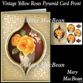 Vintage Yellow Roses Pyramid Card Front