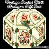 Vintage Santas Visit Hexagon Gift Box