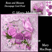 Roses and Blossom - Decoupage Card Front