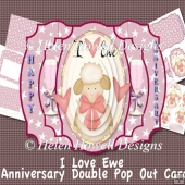I Love Ewe Wedding Anniversary Double Pop Out Card