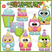 Birthday Party Owls Commercial Use Clip Art