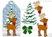 cute little deer with christmas tree on a christmas tag