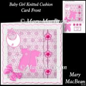 Baby Girl Knitted Cushion Card Front