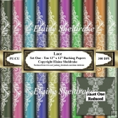 Floral Lace - Ten 12 x 12 Sheets of Backing Paper
