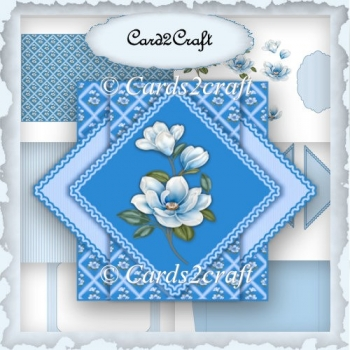 Blue magnolia triangle pop up card set