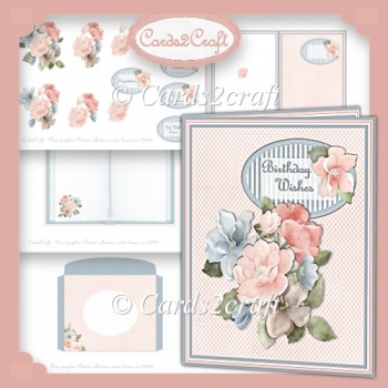 Pink and blue card set with tags