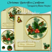 Christmas Butterflies Cardfront with Pyramage