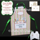 I Love To BBQ - Shaped Cut & Fold Apron Card With Insert & Verse