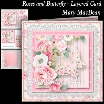Roses and Butterfly - Layered Card