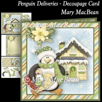 Penguin Deliveries Decoupage Card