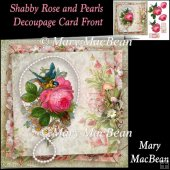 Shabby Rose and Pearls Decoupage Card Front