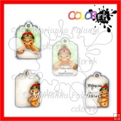 Gingerbread Men tags color digital stamps!