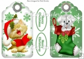 cute kitty and puppy on snow flake tags