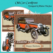 Old Car Cardfront with Decoupage