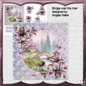bridge over the river card with decoupage