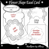 Flower Shape Easel Card Template