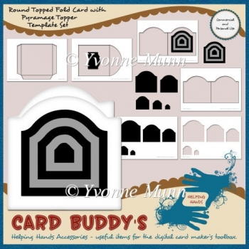 Round Topped Fold Card with Pyramage Topper Template Set - CU/PU