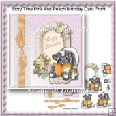 Story Time Pink And Peach Birthday Card Front