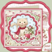 Kitty's Christmas Baubles 8x8 Decoupage Kit