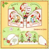 Santa Bears - Wrap around Gatefold Card
