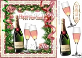 Streamers and pink champagne in festive new years frame 8x8