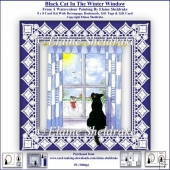Black Christmas Cat In The Winter Window - 8 x 8 Card Kit