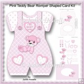 Pink Teddy Bear Romper Shaped Card Kit