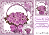 Pretty lilac roses in a basket with bow sympathy 8x8