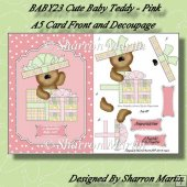 BABY28 Cute Teddy in Pink A5 Card Front