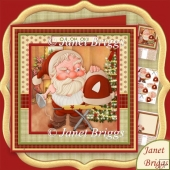 Oh Oh Oh Santa Ironing Christmas 8x8 Decoupage & Insert Kit