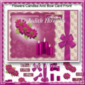 Flowers Candles And Bow Card Front