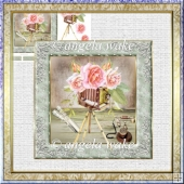 Smile for the camera 7x7 card with decoupage