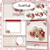 Hearts and flowers card set